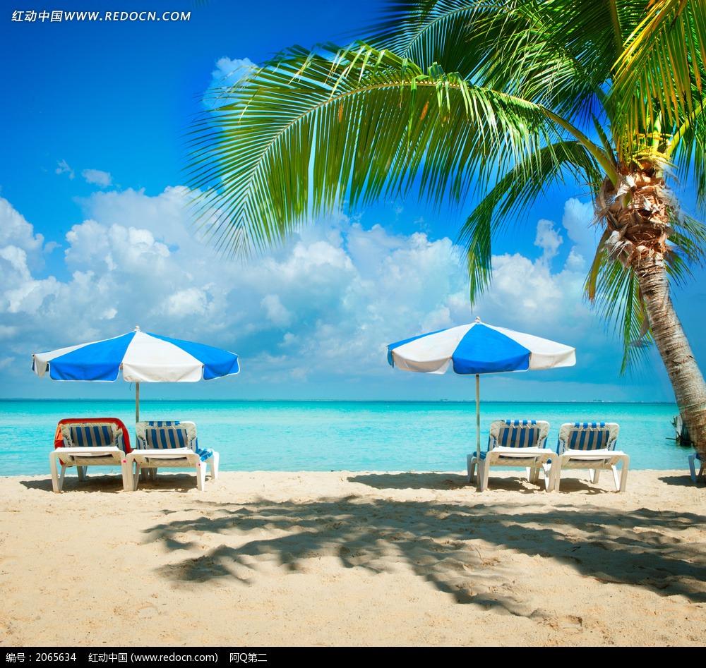 海滩上的躺椅遮阳伞椰子树