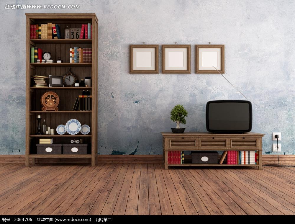 室内书柜和电视柜电视效果图