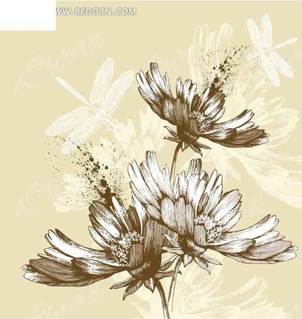 手绘花朵 蜻蜓