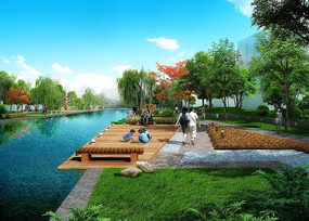 猪笼河滨水带景观效果图