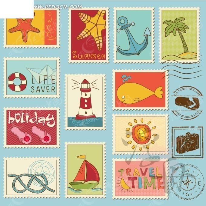 可爱手绘旅游风景邮票