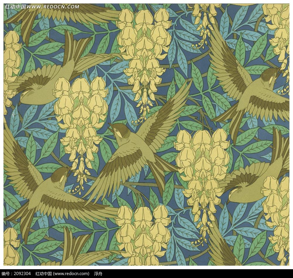 复古花鸟水彩素材