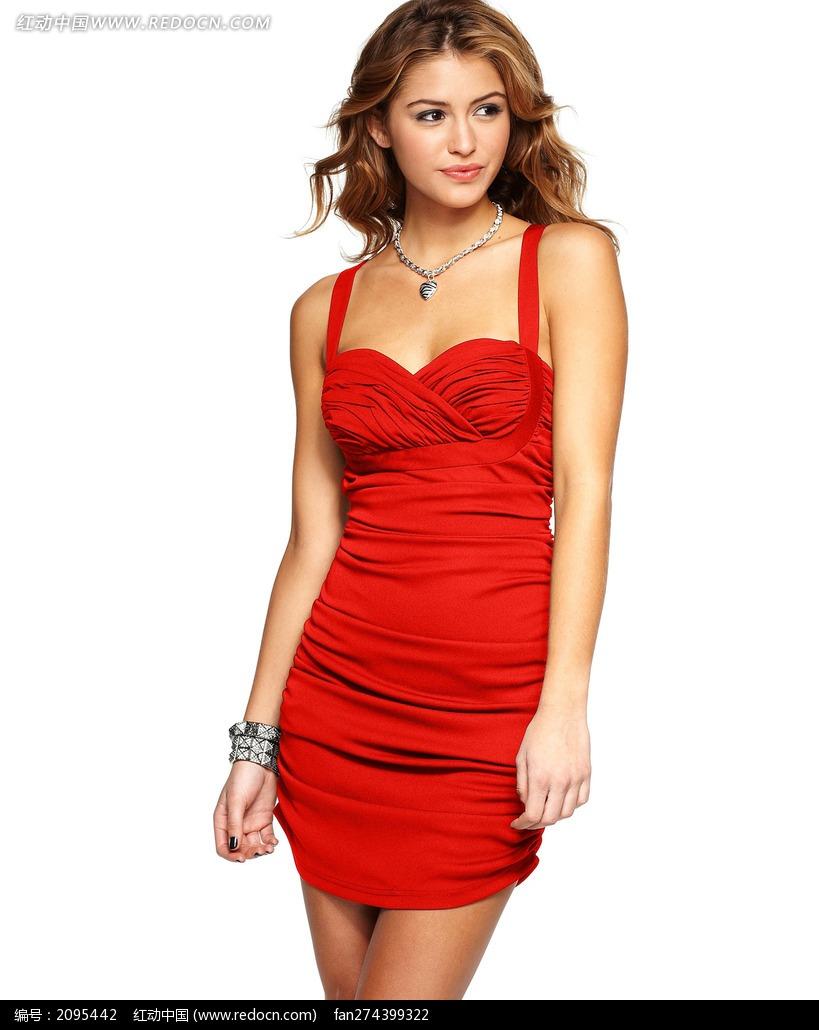 穿红色超短裙的外国美女图片