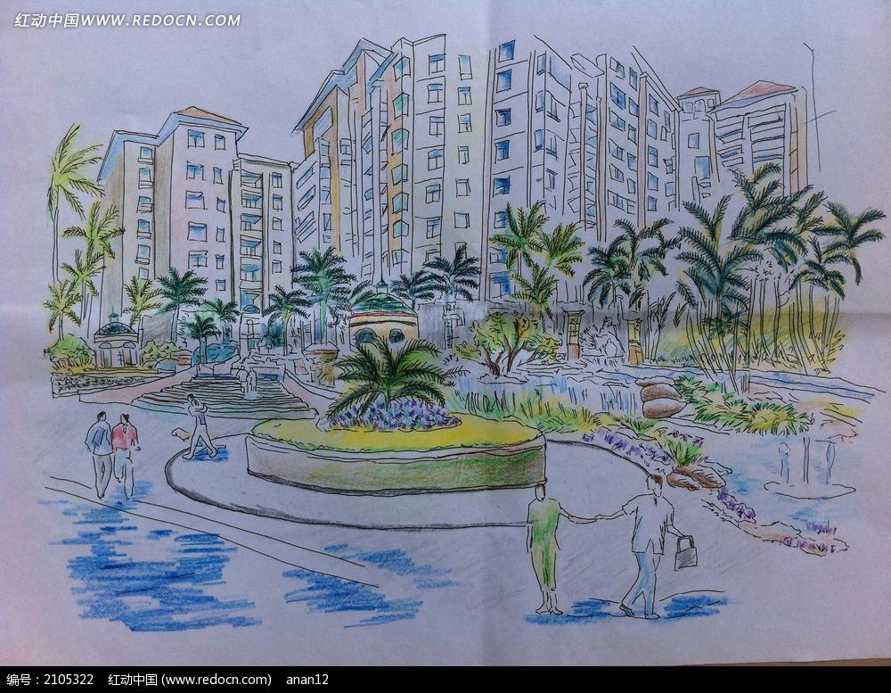 喷泉广场手绘设计