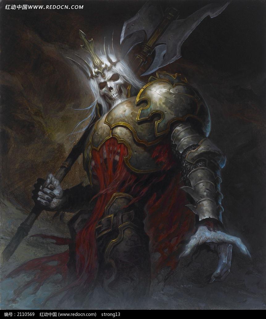免费素材 图片素材 漫画插画 人物卡通 暗黑破坏神3骷髅王