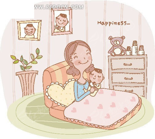 在床上抱着婴儿的妈妈