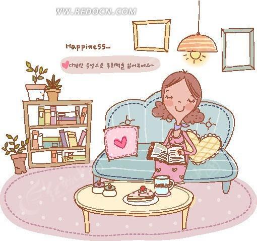 坐在沙发上 看书的怀孕妈妈 美女矢量图 女人矢