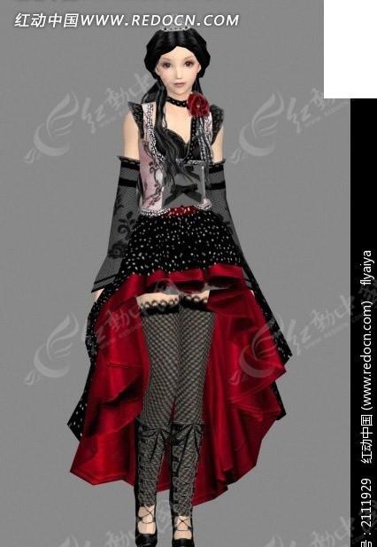 哥特式服装美女 人物模型