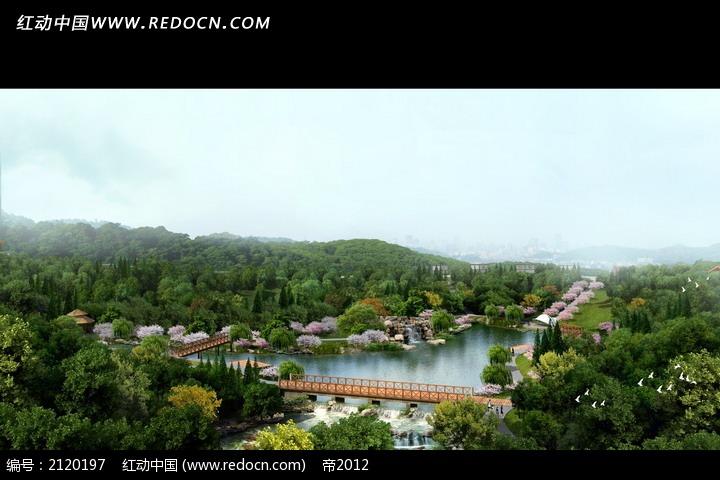 俯视园林风景效果图PSD素材免费下载 编号2120197 红动网