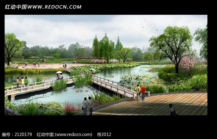 公园水池桥梁效果图