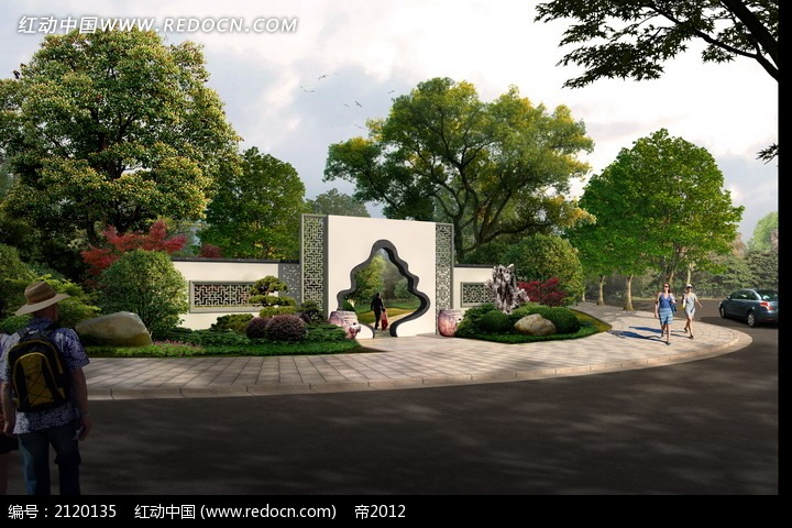 公园入口绿化效果图