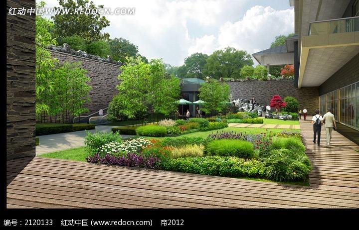 博物馆外部绿化效果图