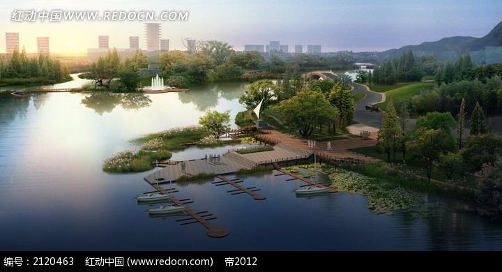 俯瞰湖边别墅效果图psd免费下载_园林景观素材