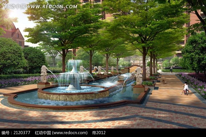 高档小区喷泉景观效果图