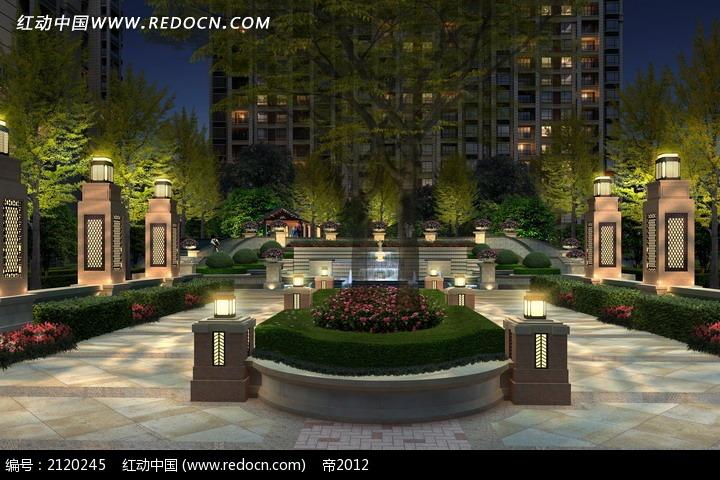 免费素材 psd素材 psd建筑空间 园林景观 高档住宅区夜景效果图  请您