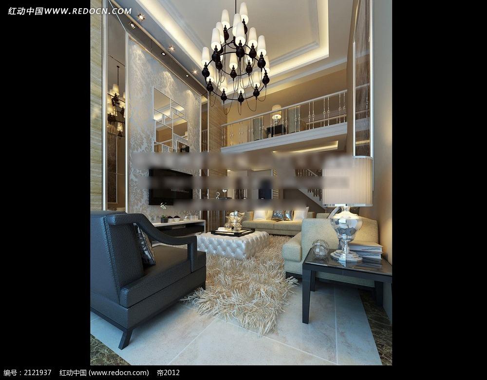 别墅欧式客厅效果图max