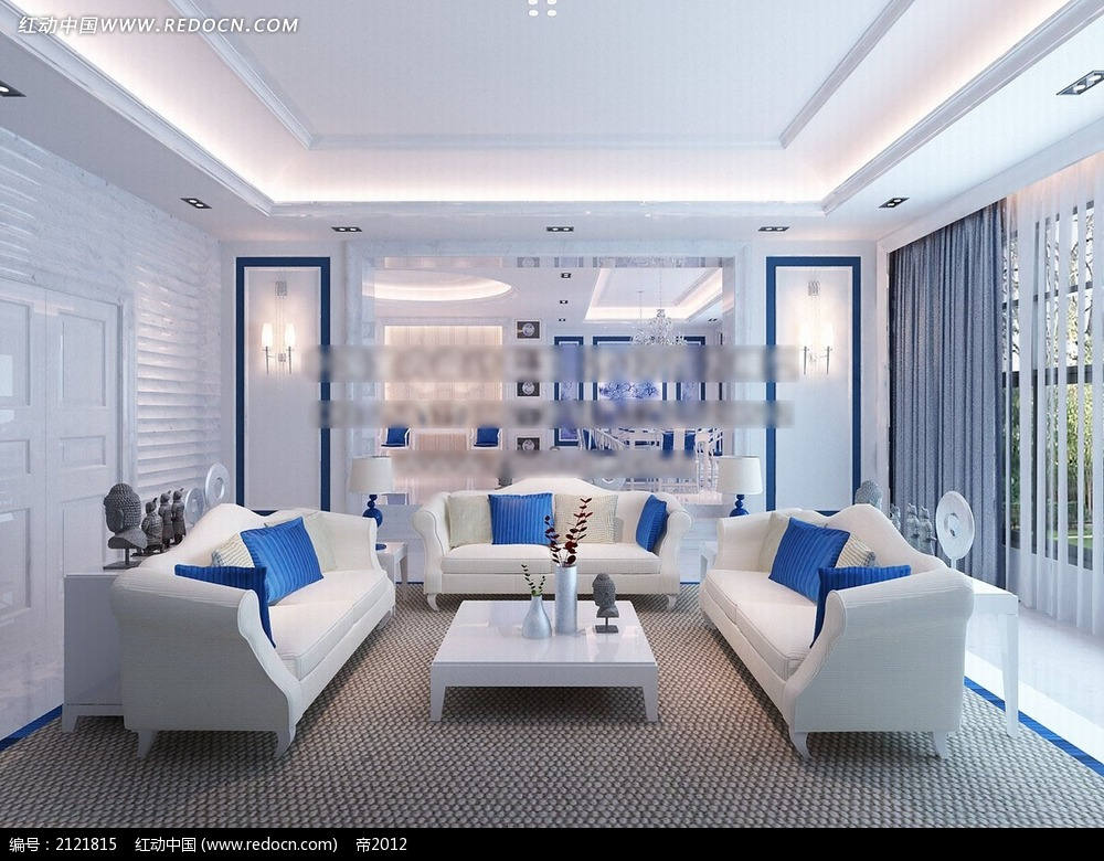 时尚蓝白色调客厅装修效果图max