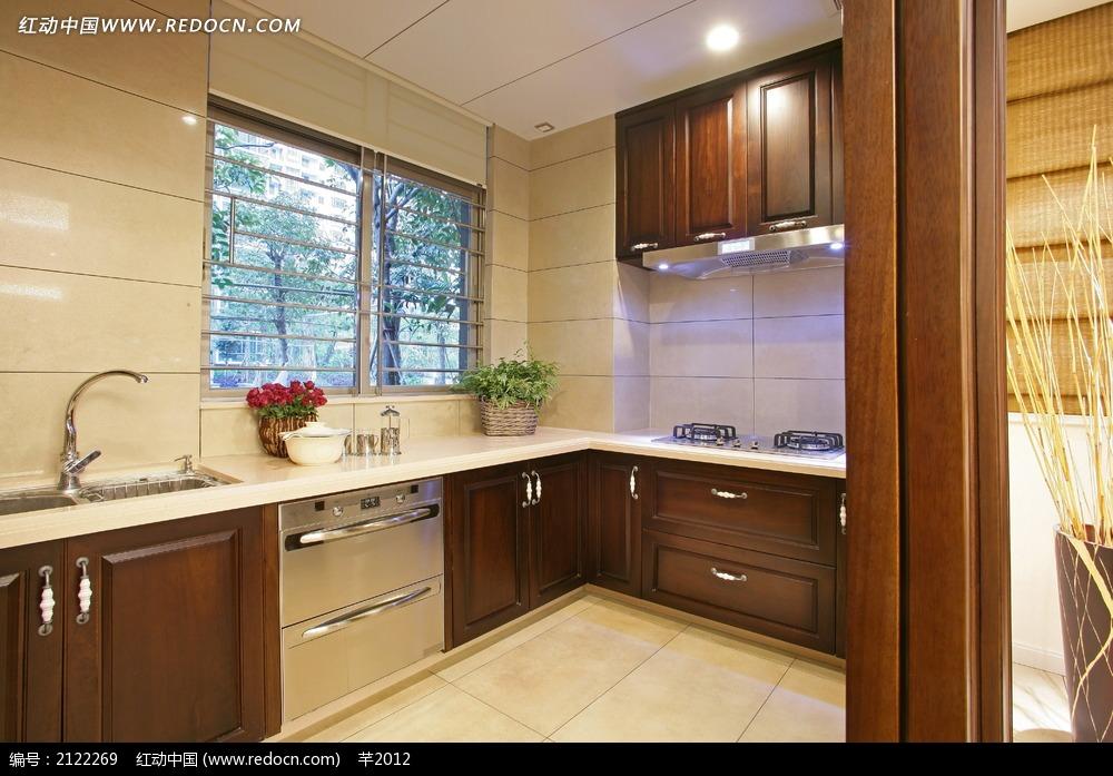 实木橱柜厨房装饰效果图图片