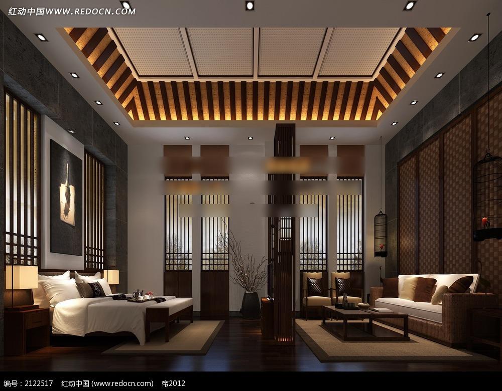 中式风格卧室效果图max_室内设计图片