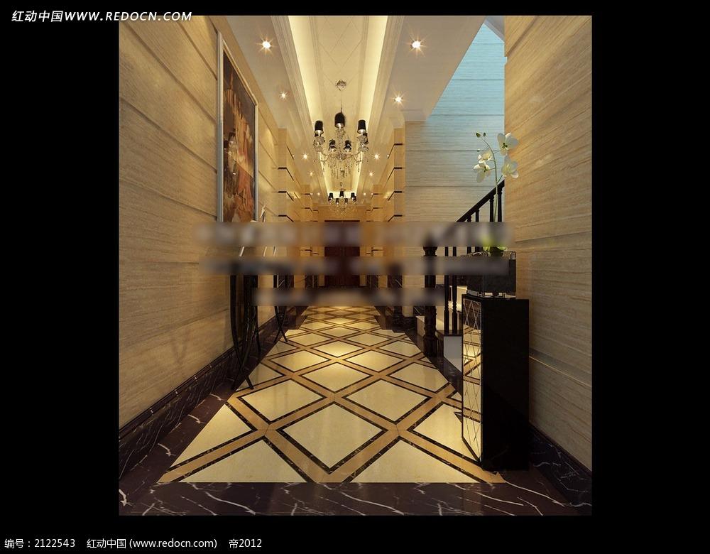 免费素材 3d素材 3d模型 室内设计 欧式别墅走廊效果图max  请您分享图片