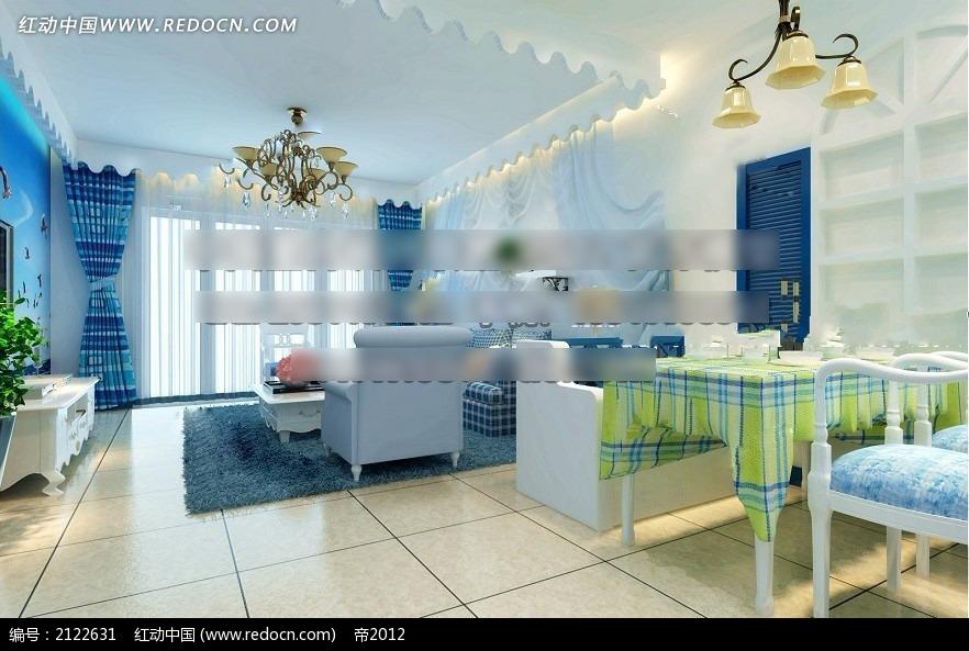 机械调蓝色效果图max_室内设计济南外企客厅设计师v机械图片