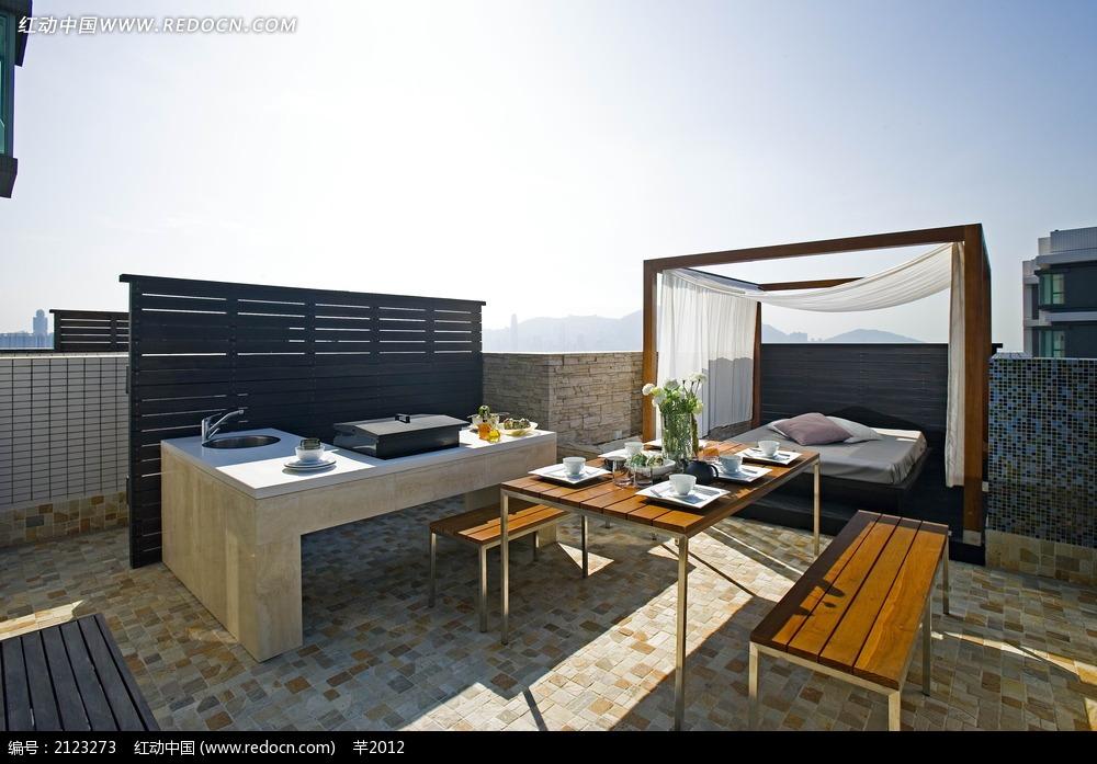 免费素材 图片素材 环境居住 室内设计 露台楼顶休闲装饰效果图  请您