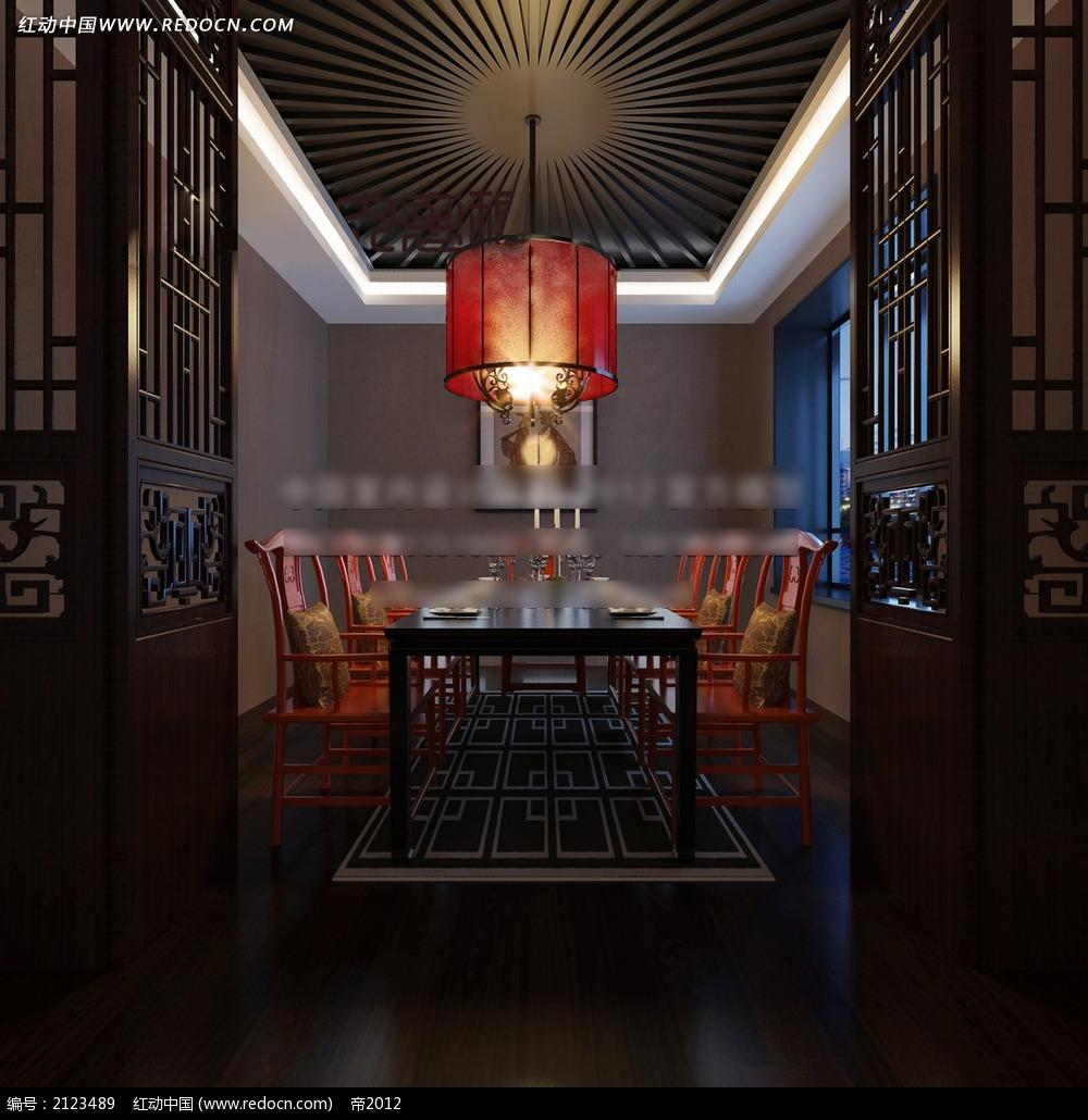 中式餐厅包厢装修效果图max图片