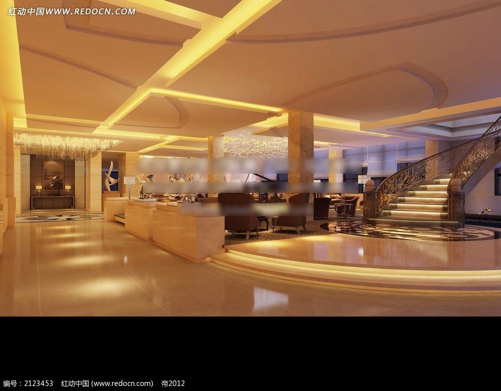 酒店大堂休息区装修效果图max