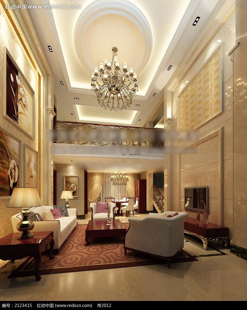 楼中楼欧式客厅效果图max3dmax免费下载图片
