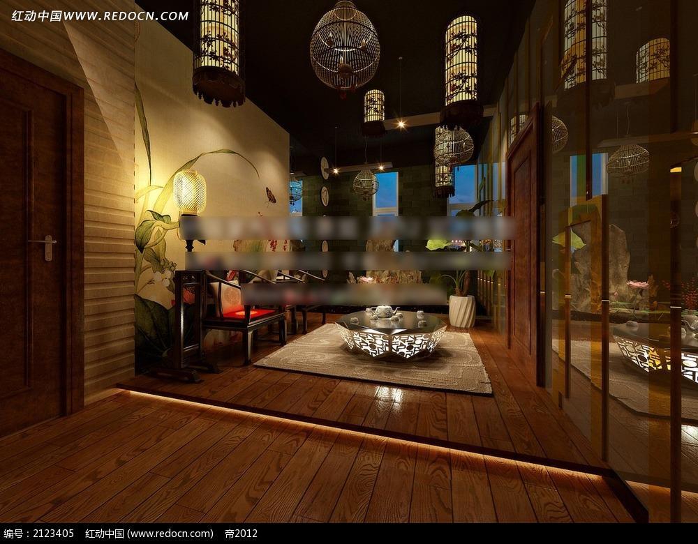 中式风格茶室效果图max高清图片