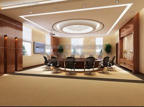 圆桌会议室效果图max