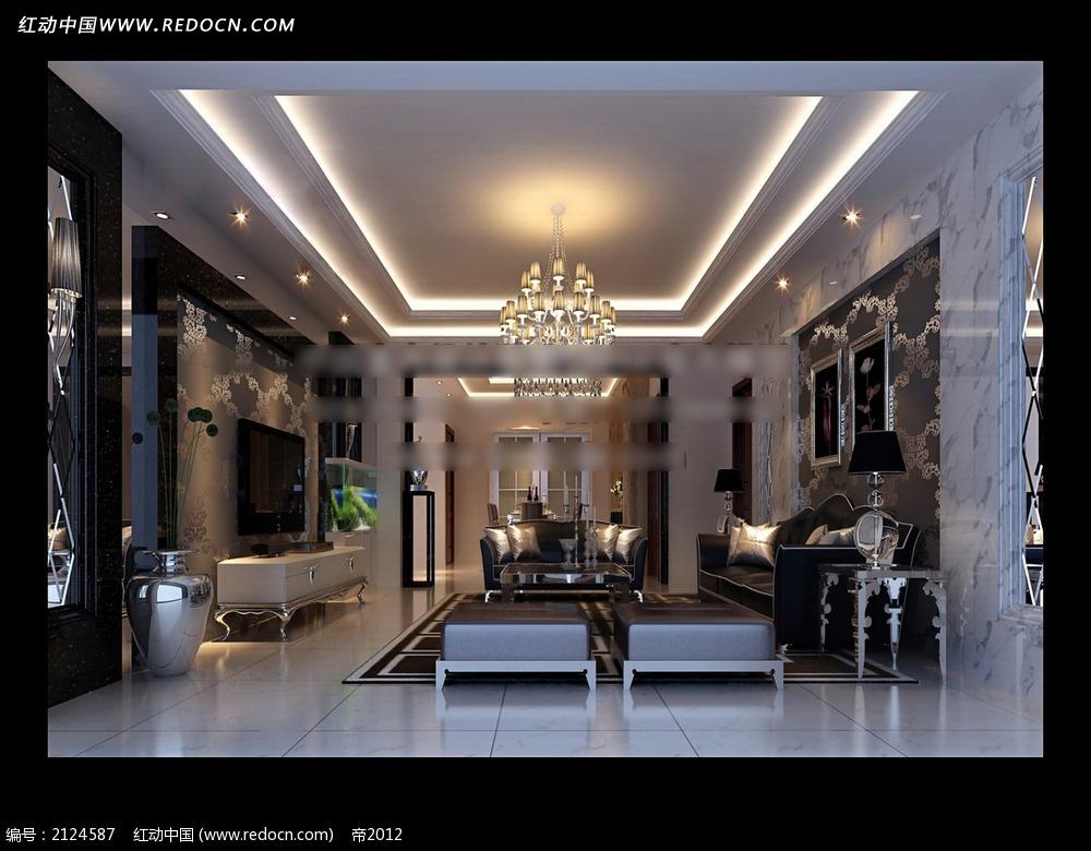 玻璃雕花电视墙欧式客厅效果图max高清图片