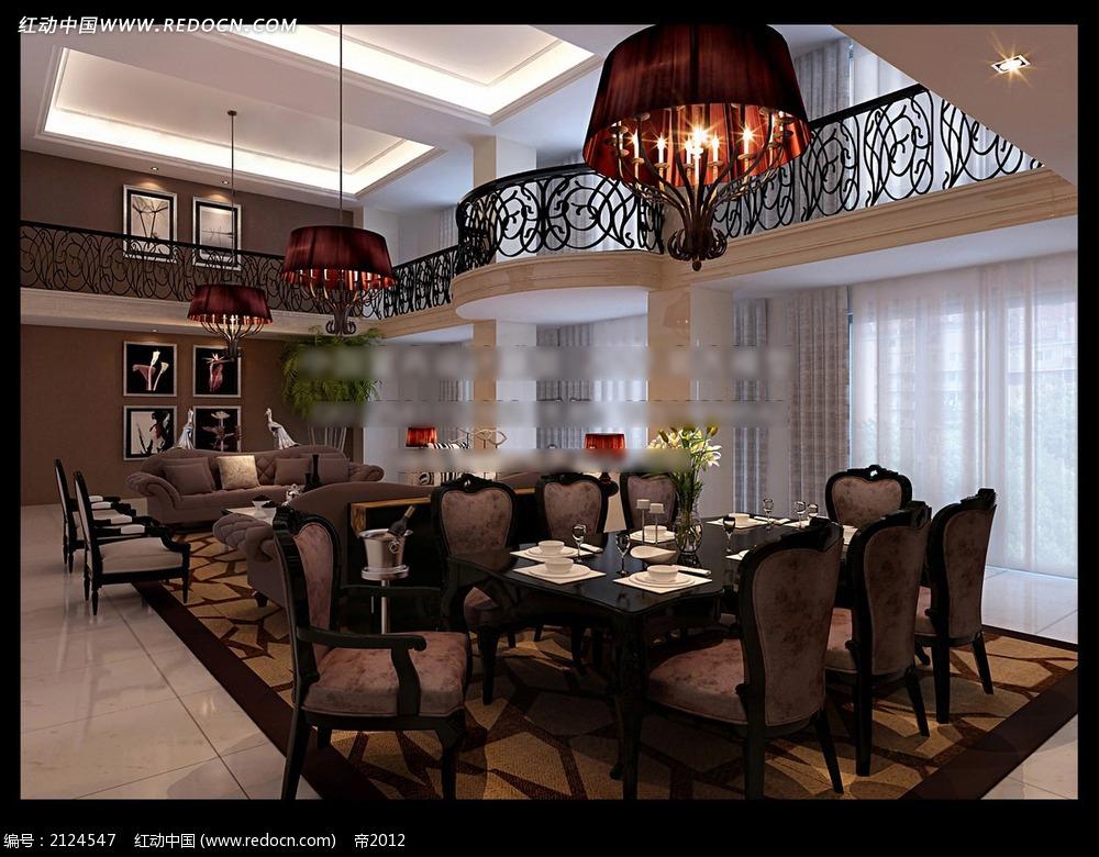 欧式别墅餐厅客厅效果图max
