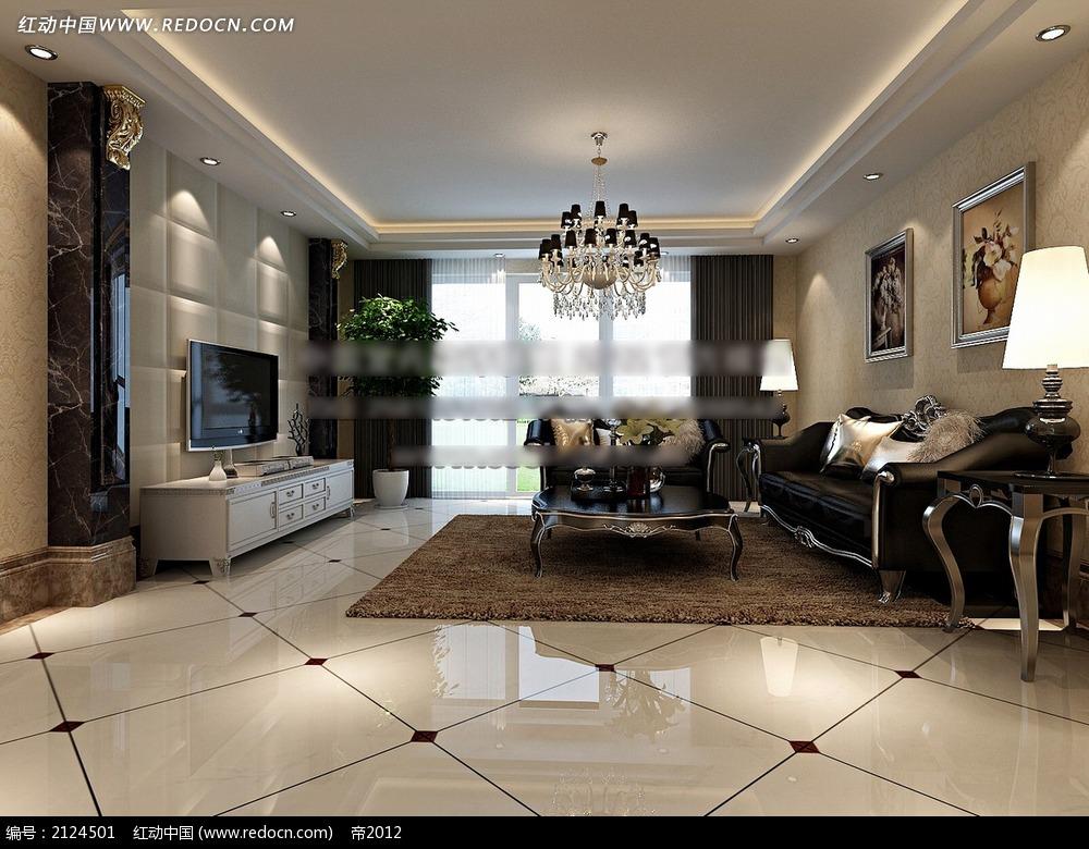 软包电视墙欧式客厅效果图max3dmax免费下载 室内设计素材 -软包电高清图片