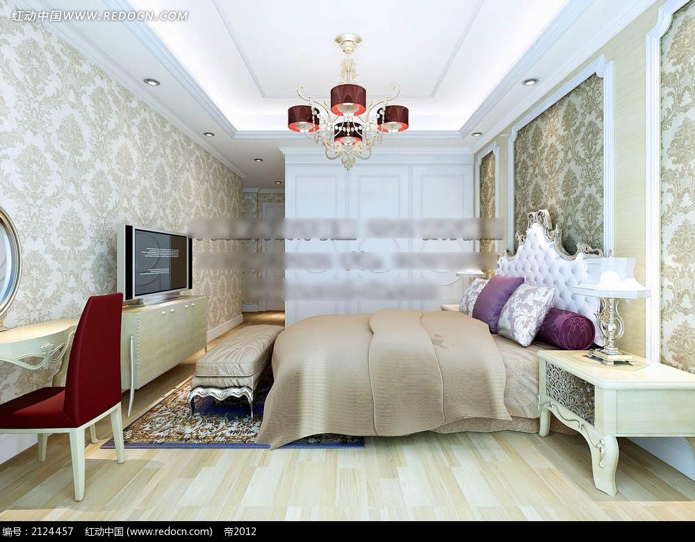 欧式墙纸卧室效果图max3dmax素材免费下载_红动网图片