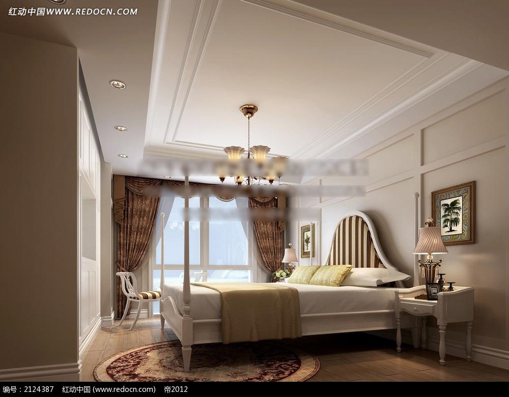 轻美卧室效果图3d下载