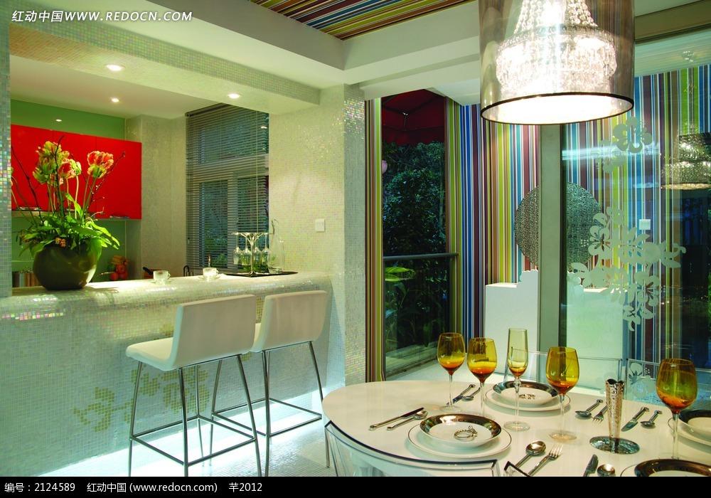 家具餐厅吧台装饰效果图_室内设计图片