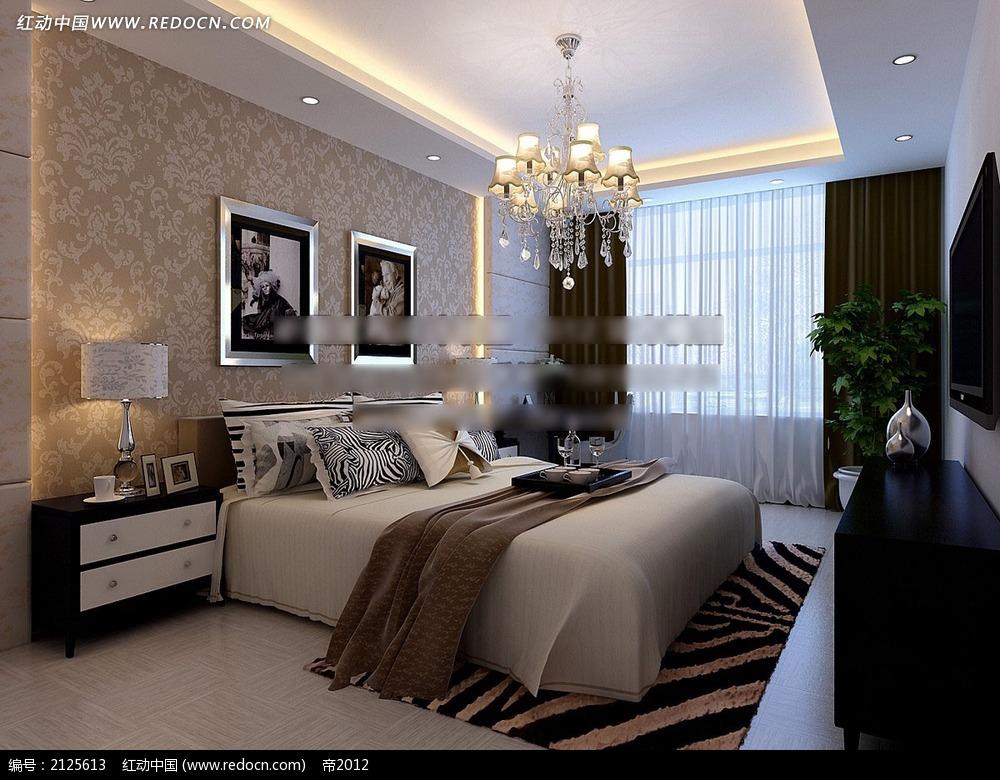 欧式花纹墙纸卧室效果图max3dmax素材免费下载_红动网图片