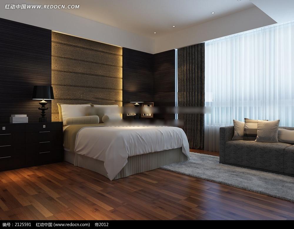 现代简约卧室家装效果图max3dmax素材免费下载_红动网