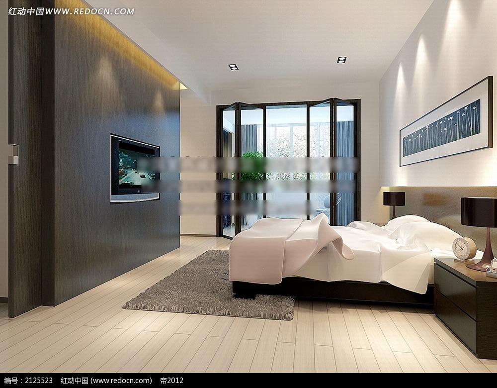 白色木地板卧室效果图max