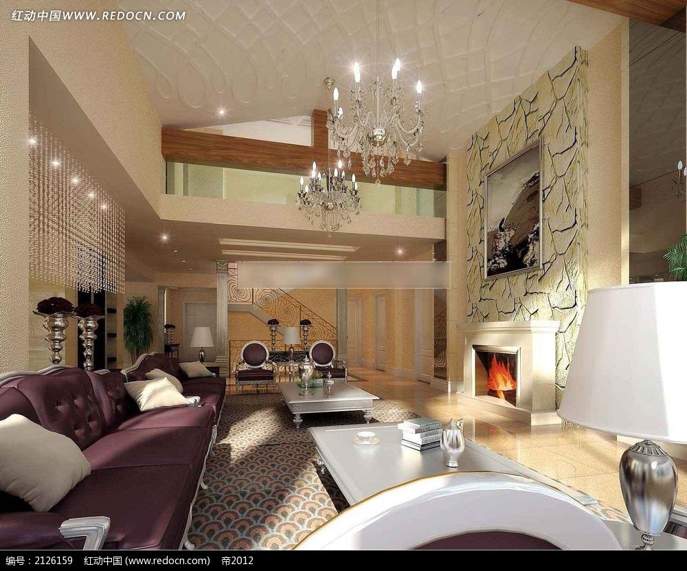 别墅欧式客厅效果图max3dmax免费下载_室内设计素材