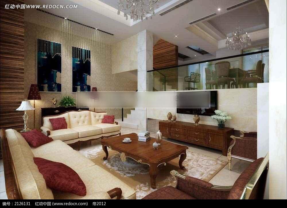 楼中楼简欧风格客厅设计效果图max图片
