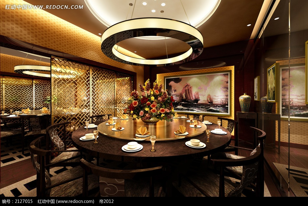 免费素材 3d素材 3d模型 室内设计 豪华中式餐厅包房效果图max  请您