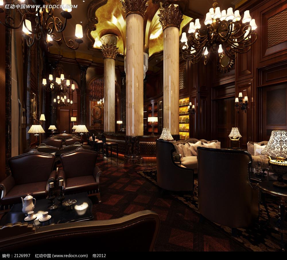 豪华欧式咖啡馆效果图max图片