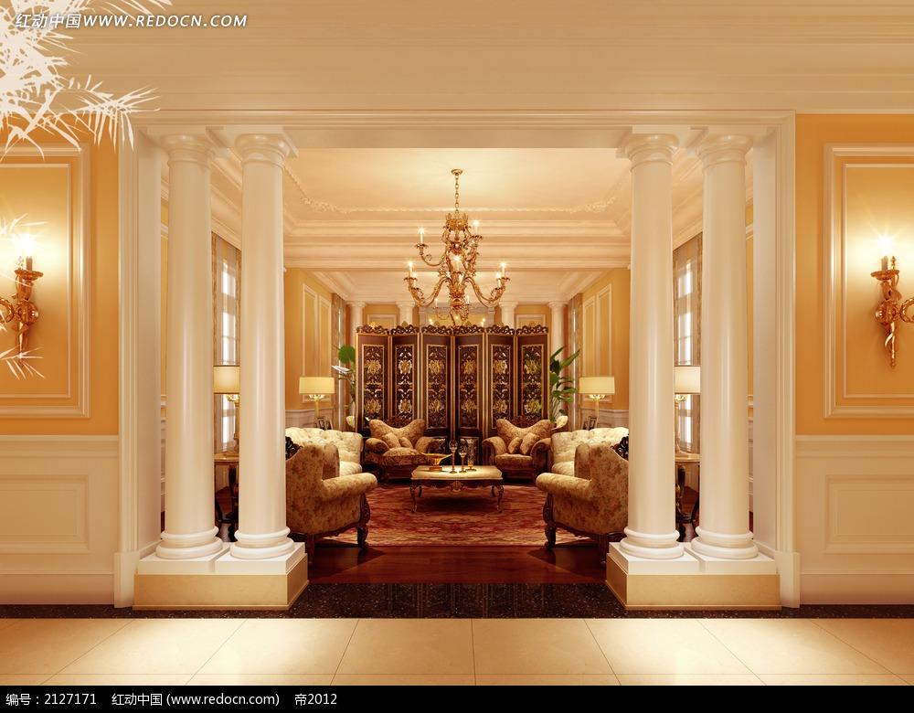 免费素材 3d素材 3d模型 室内设计 中欧混搭别墅客厅效果图max  请您图片