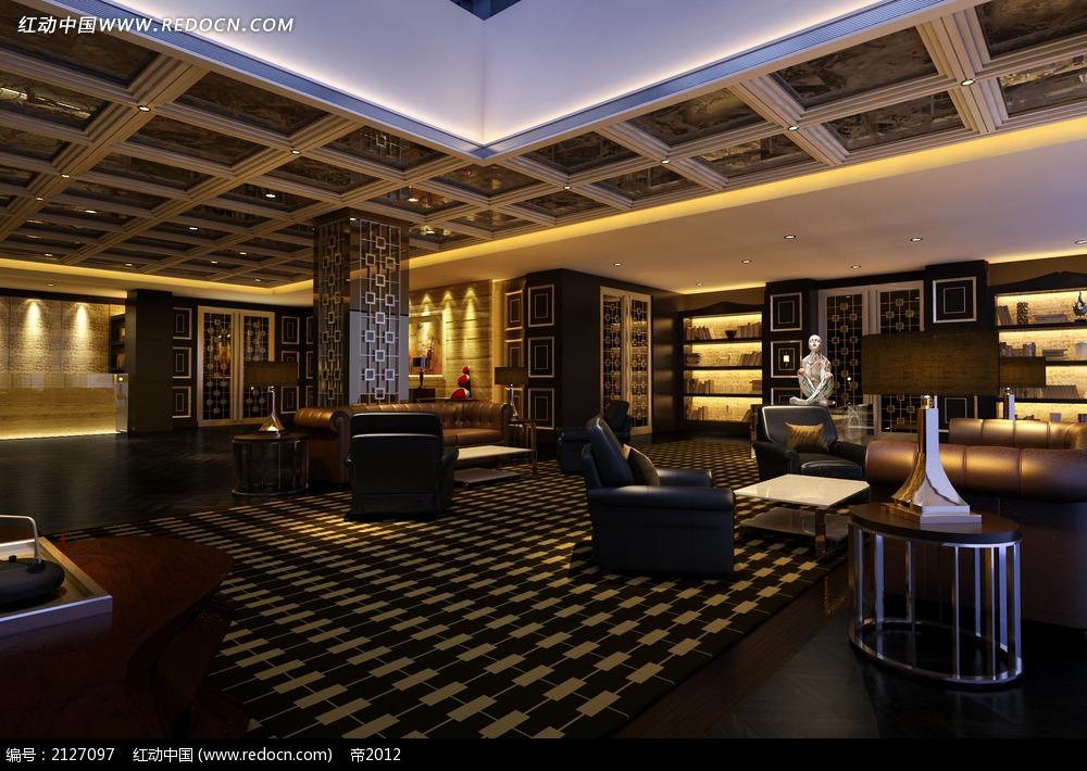 欧式酒吧休闲会所效果图max_室内设计_红动手机版