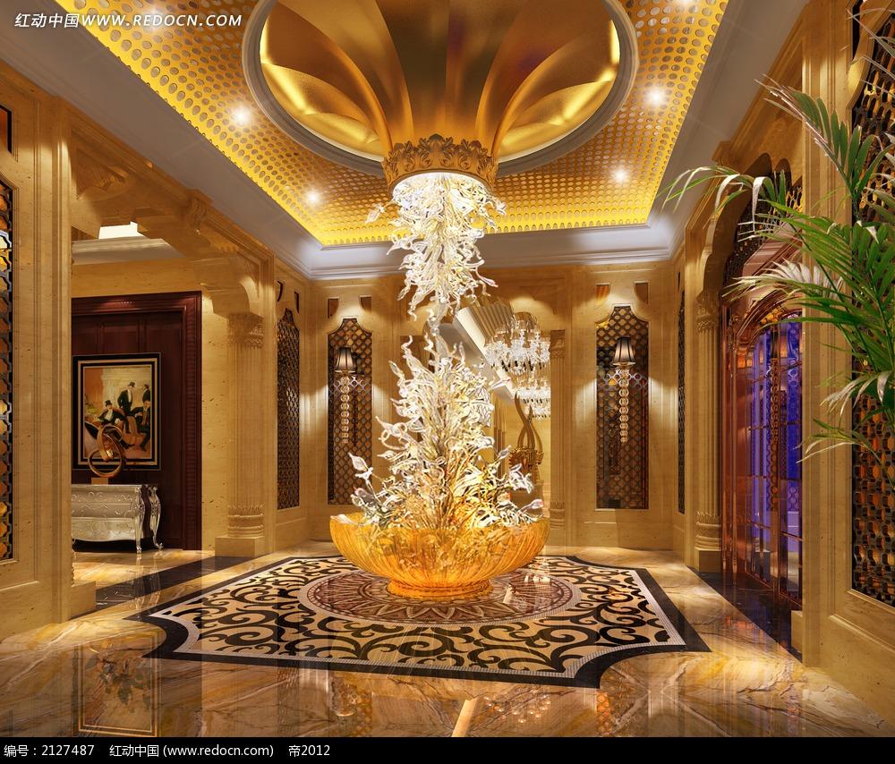 免费素材 3d素材 3d模型 室内设计 门厅大堂景观效果图max  请您分享图片