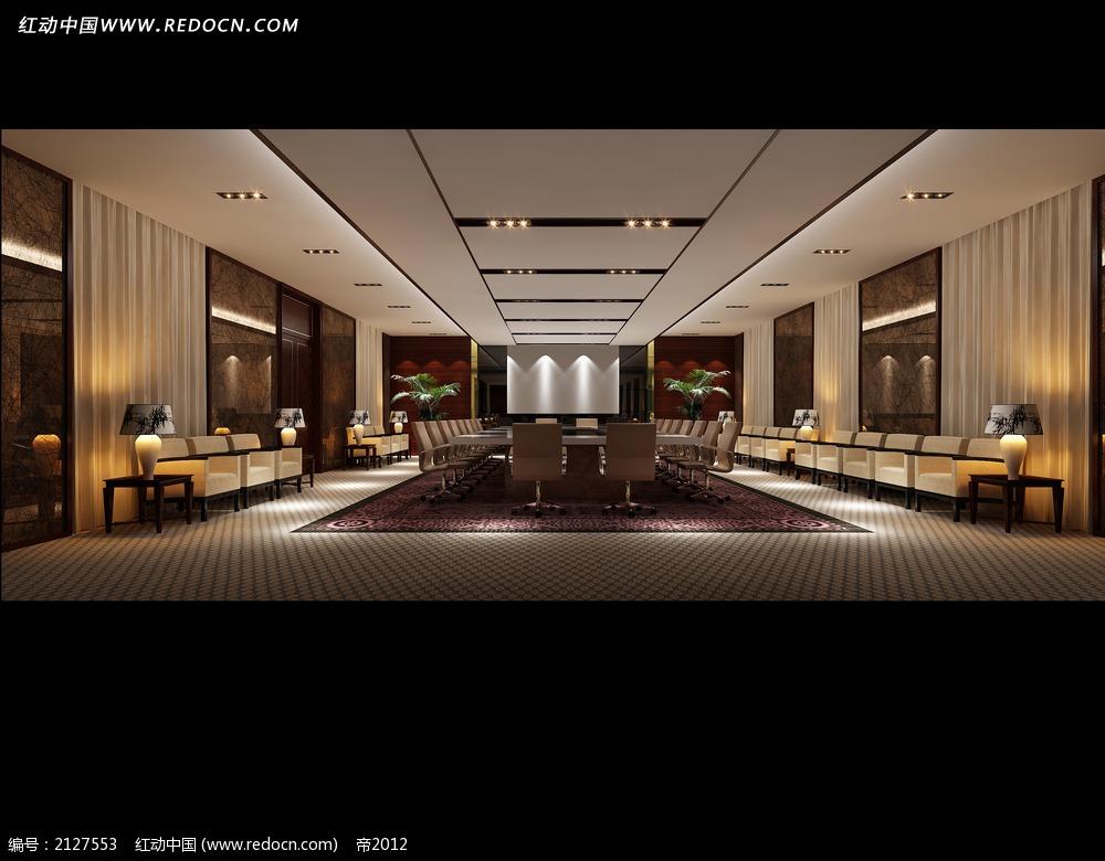 免费素材 3d素材 3d模型 室内设计 投影会议室效果图max  请您分享