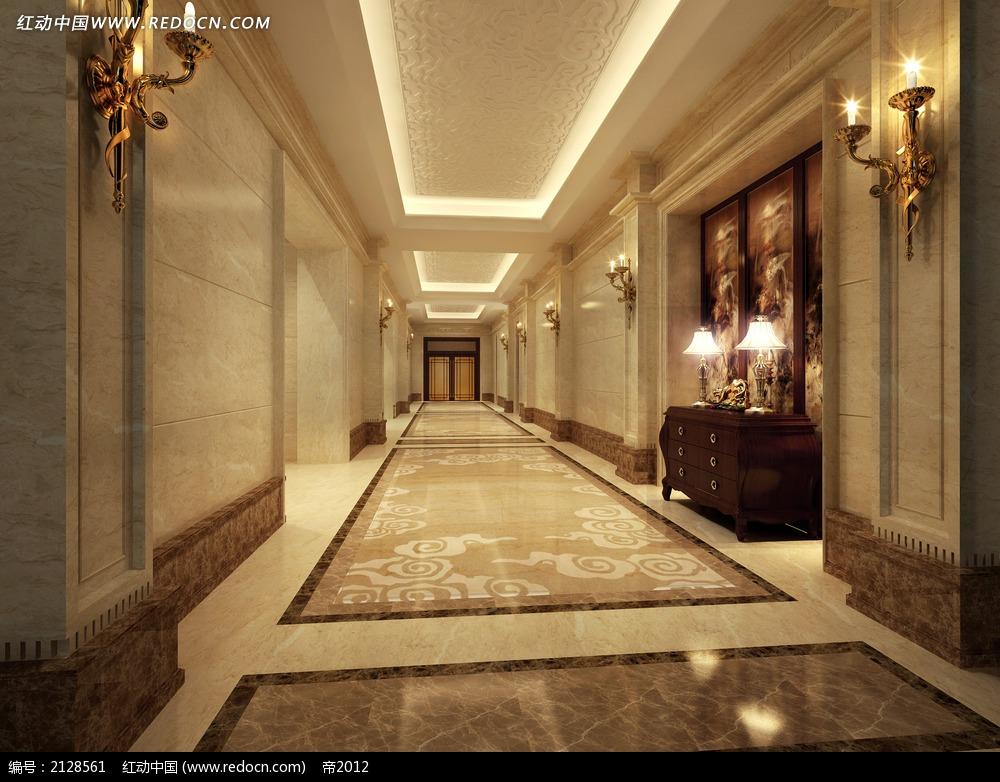 欧式酒店客房走廊效果图max