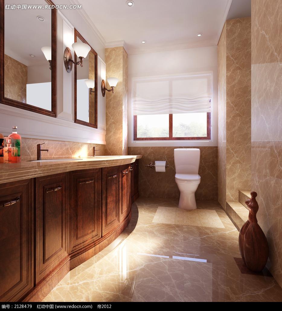 欧式风格洗手间设计效果图max